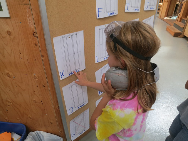 Elsa double-checks her measurement on our Great Wall of Communication.