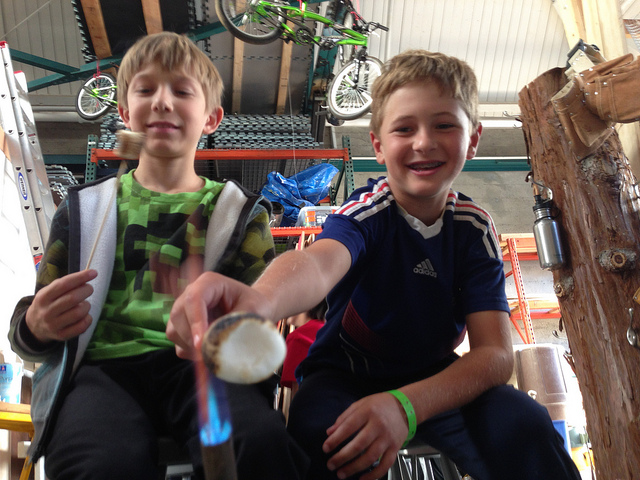 Soren and Logan handled the strict two-marshmallow limit with aplomb.