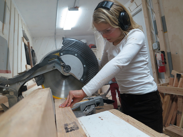 Minette became fascinated by the chop saw's ability to miter and bevel...