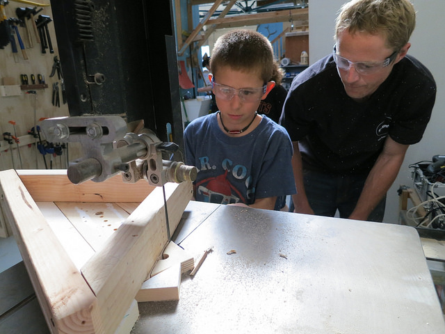 Ruben, age 9, uses a bandsaw for the very first time!