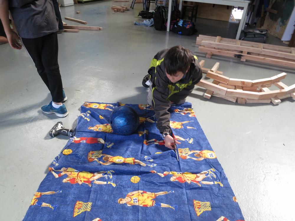 Aidan explores a cloth saddle for the lift.