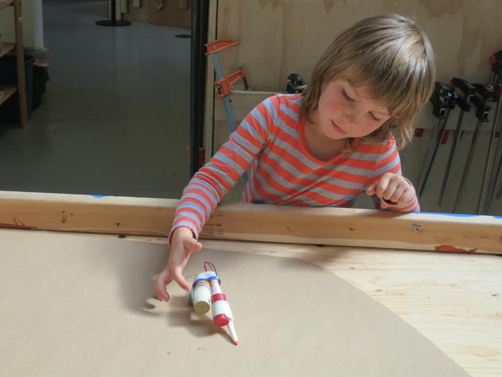 Scarlett tests a two-cork doodling waddler.