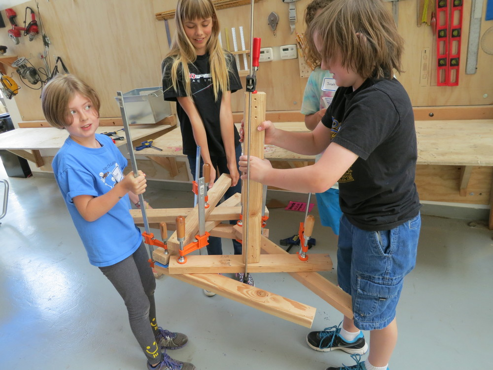 Morgan, Emilia, Jonah and Nick's clamp-a-ma-jig.