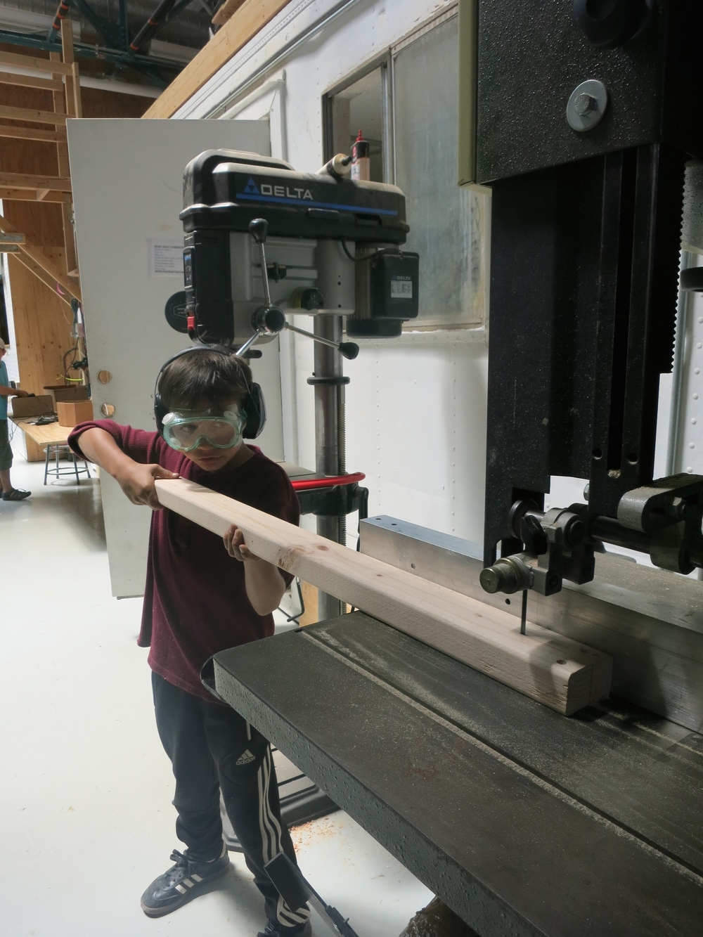 Aiden on the bandsaw.