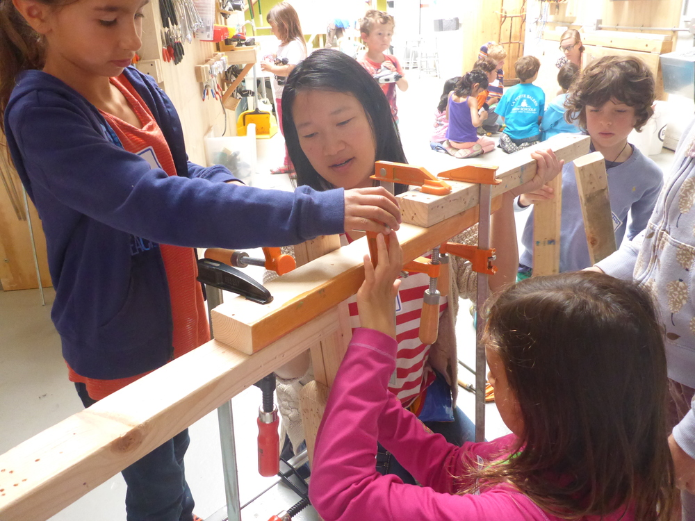 Clamp training. Clamps are essential tools for kids who want to work independent of adults!
