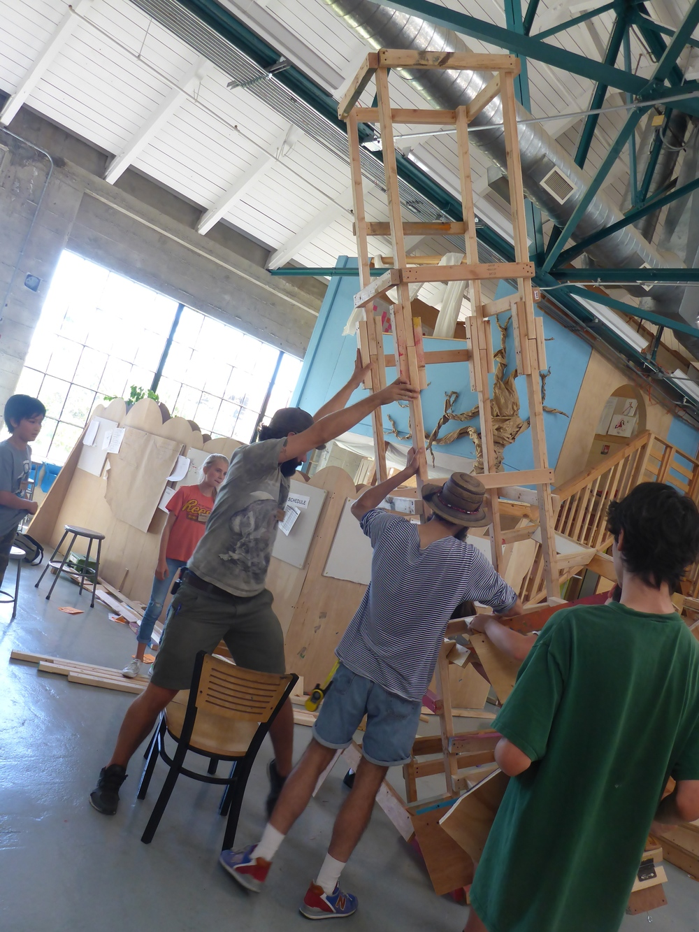 Raising the 360-degree marble run tower,