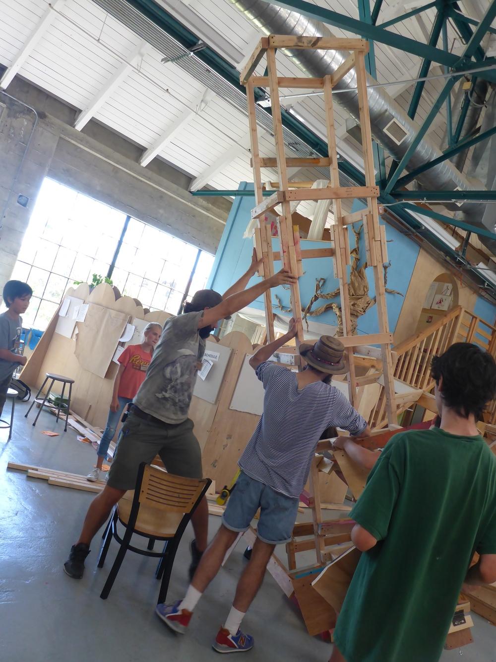 Raising the 360-degree marble run tower,