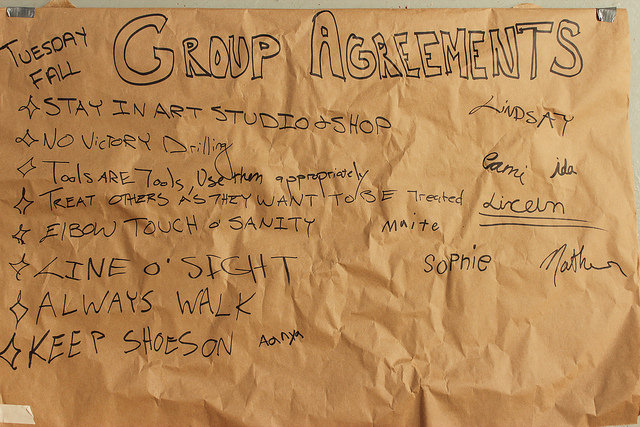 Tuesday's group agreements for Fall 2014