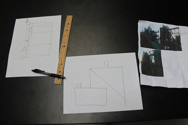 Gabriel came prepared with a photo and dimensions of the pulley he wanted to attached to an existing tree structure in his backyard. This was an example of how knowing your constraints can help propel your design phase