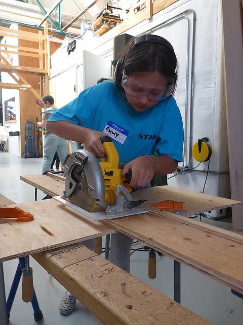 Emmy used the skillsaw to cut pieces that were too large to fit on the bandsaw.