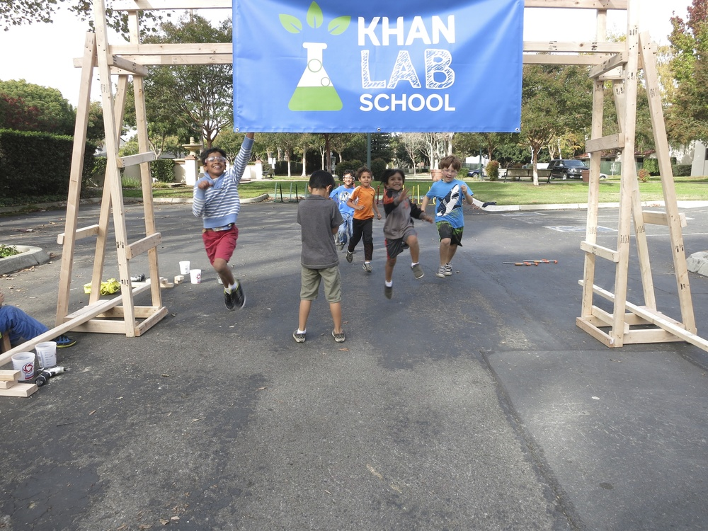 Of course, we had to make a finish line! Zidaan leads the pack in an impromptu race.