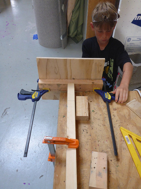 Clamps can be a great took when working independently. Rauri prepares his halloween decoration for assembly