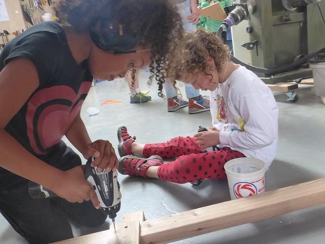 Meanwhile, Cecile and Portia work together on driving screws into the submarines' base.