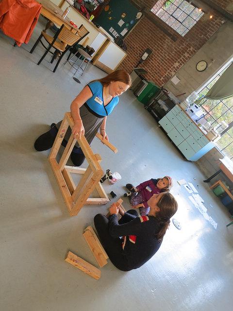 Lauren, Ananya and Sarah start assembling parts!