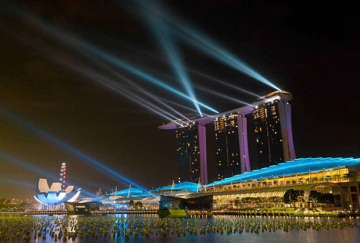 Singapore Countdown 2012 Lights Practice at Marina Bay Sands
