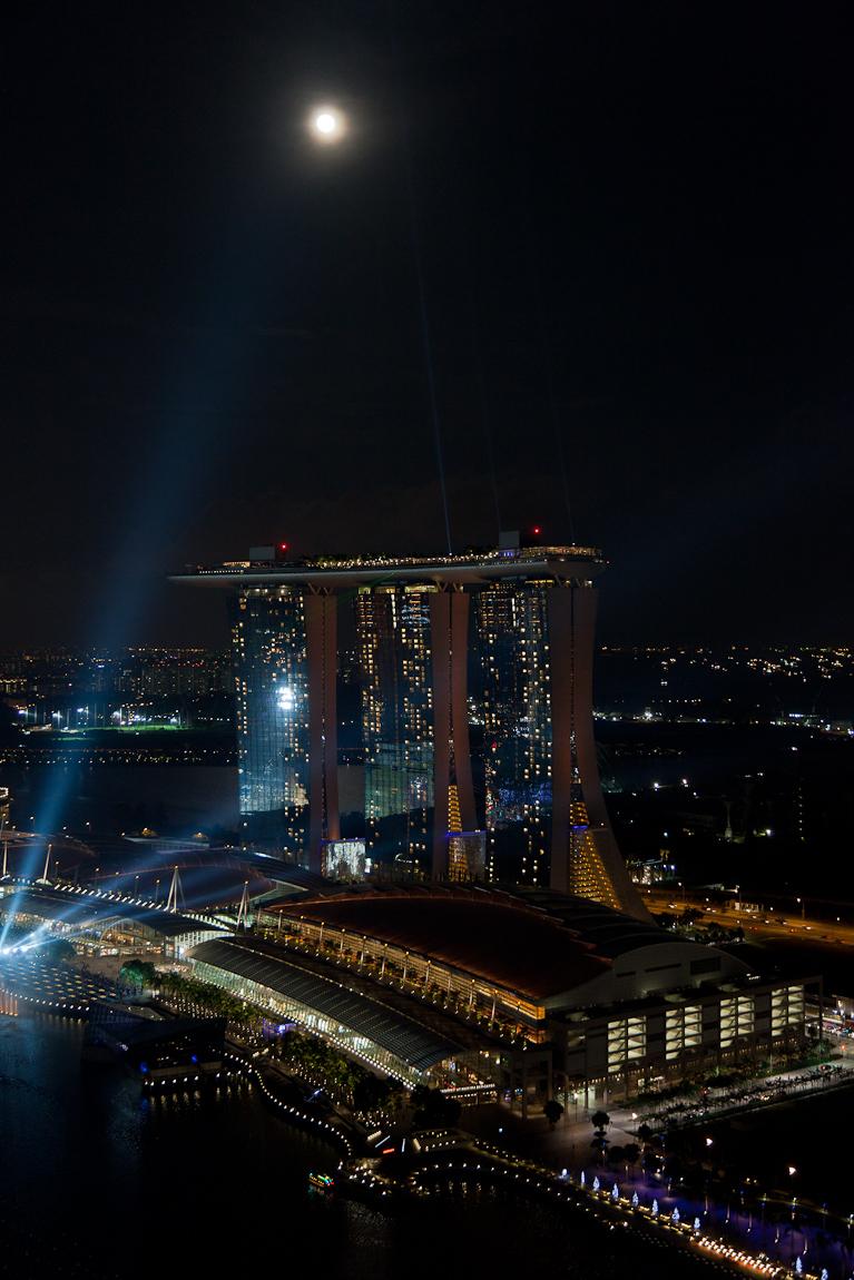 Moonrise & Eclipse Over Marina Bay Sands Singapore