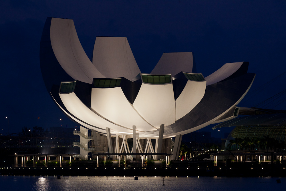 Clifford Pier at Marina Bay in Singapore provides a very good vantage point for photography of the ArtScience Museum, as in this pre-dawn image from this morning.