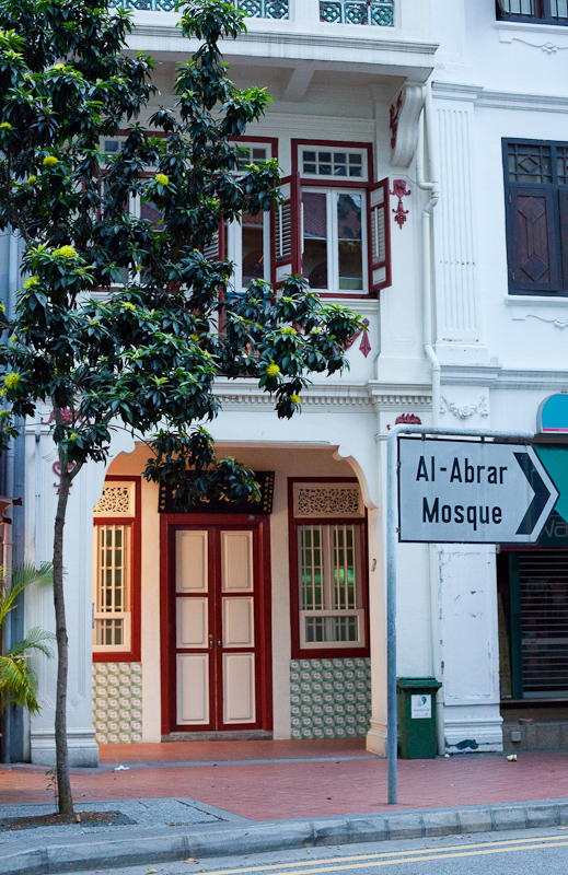 It was very dark here in Singapore this morning and I thought there might be little in the way of photography to be done, but went out for a walk to Telok Ayer Street anyway, and was glad I did. I enjoyed seeing the juxtaposition of this sign pointing to the Al Abrar Mosque a little further along the street and the heritage shophouses.