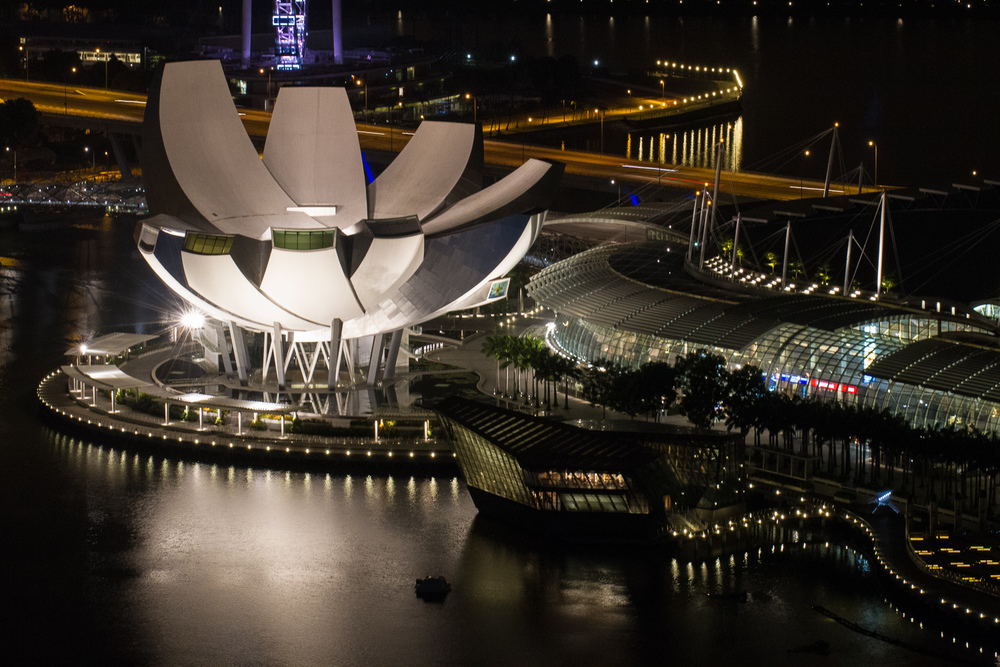 After:  ArtScience Museum and Marina Bay Sands Complex after mid-2010 completion (this image taken December 2012).