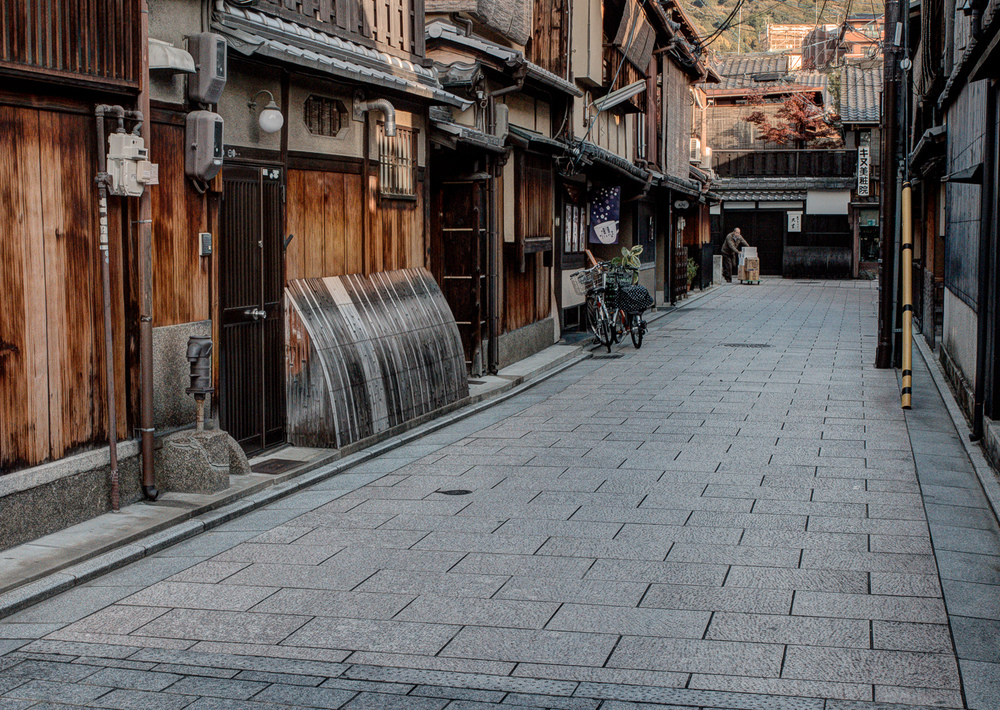 A quiet backstreet in the Gion district.
