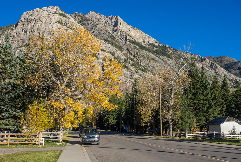 Looking west on Mt View Rd in Waterton village (September 2015)