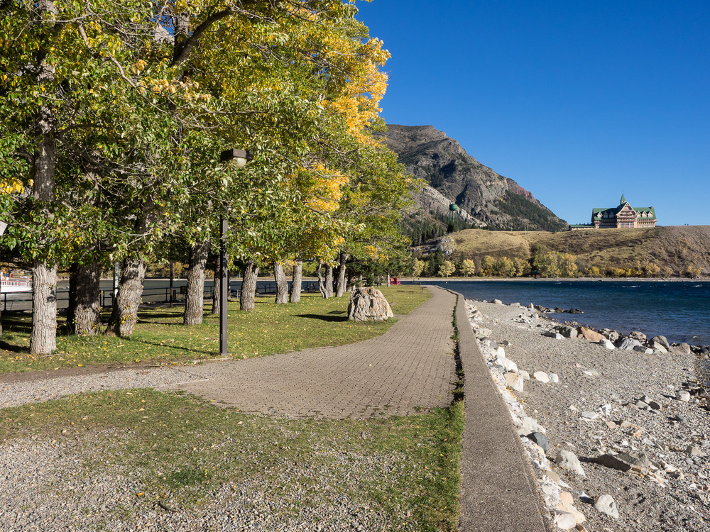 Looking north from path along Upper Waterton Lake (September 2015)