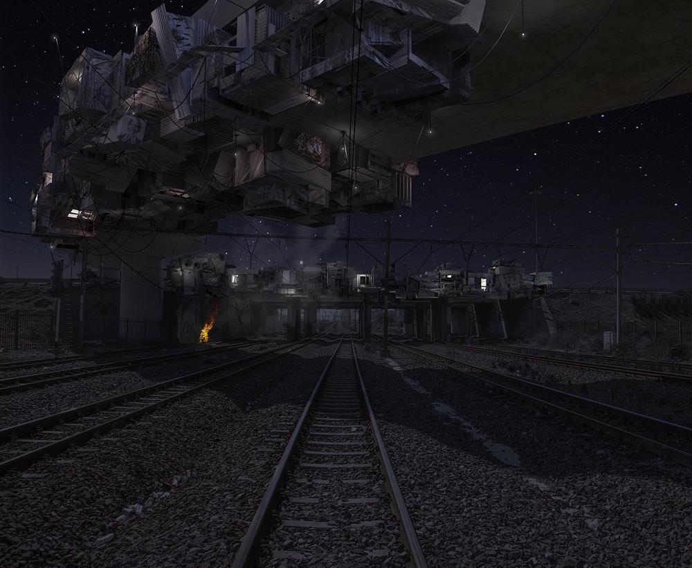 Bridge below starry skies