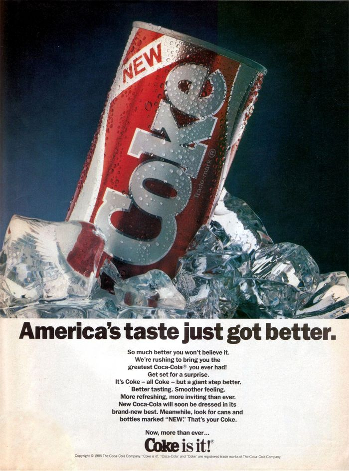 An advertisement for New Coke, circa 1985