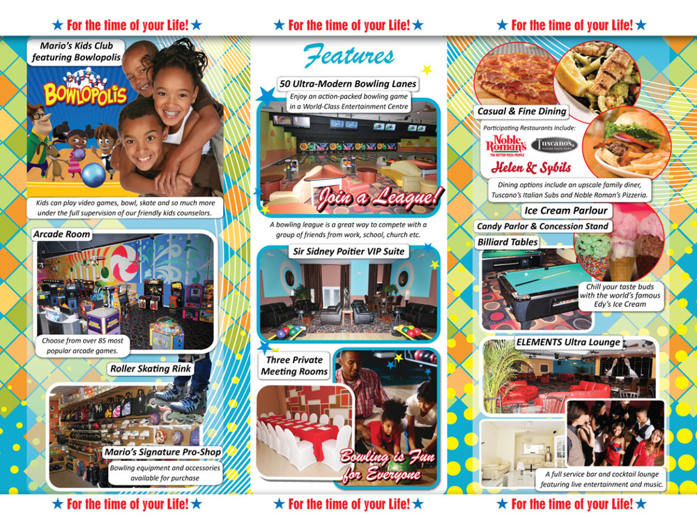 Mario's Bowling Tri-fold Brochure