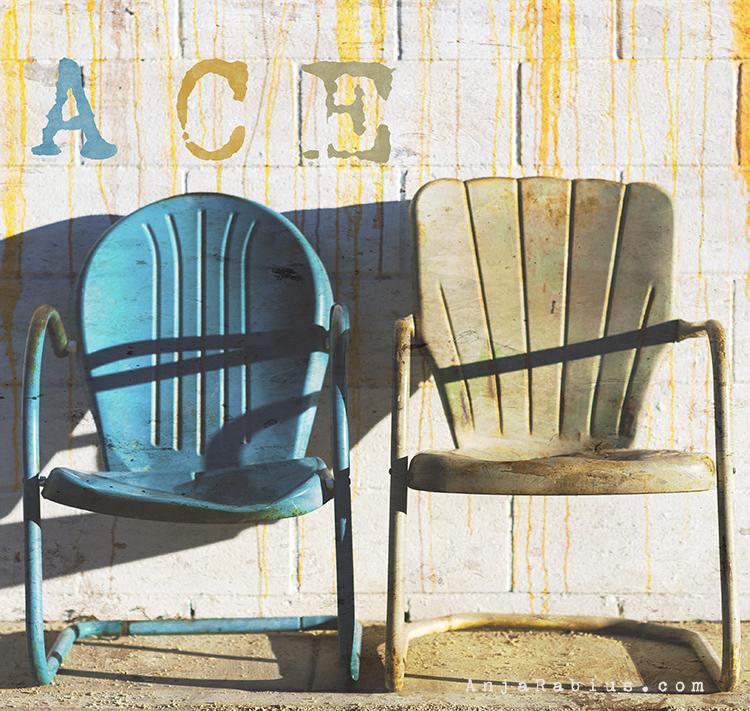 Ace Chairs 'Sweden'- original image, brush overlay by Kim Klassen; own texture; font: VT Portable Remington