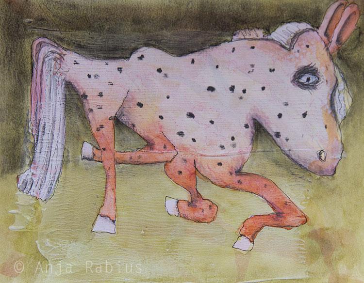 Little wobbly-legged, ripe-banana textured 'horse'