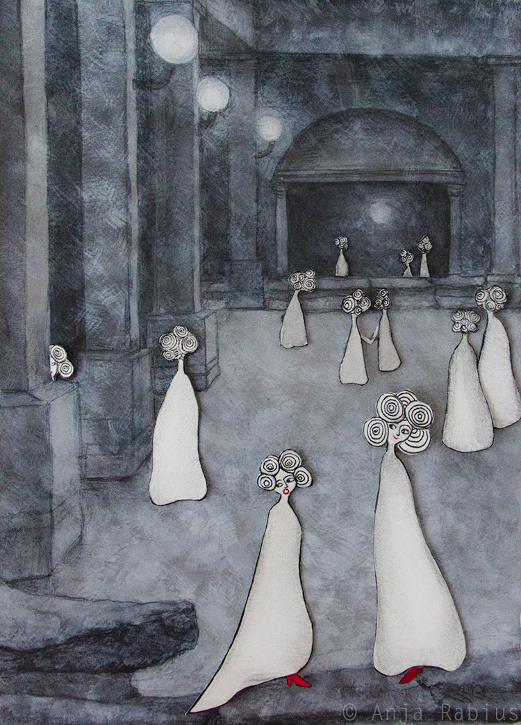 Twelve princesses on their way to the ballroom. The invisible soldier steps on the gown of the youngest princess.