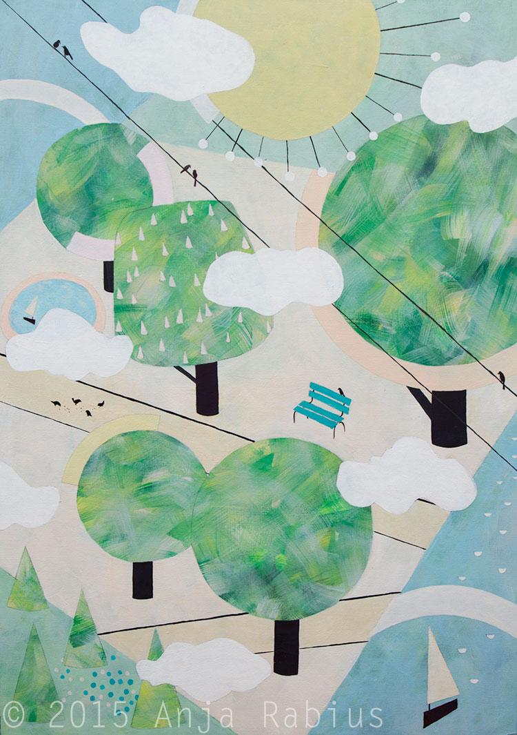 au parc II, 2015, acrylic on canvas board, 50 x 70 cm