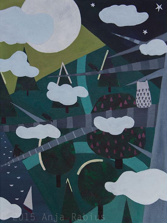 au parc III, 2015, acrylic on canvas, 30 x 40 cm