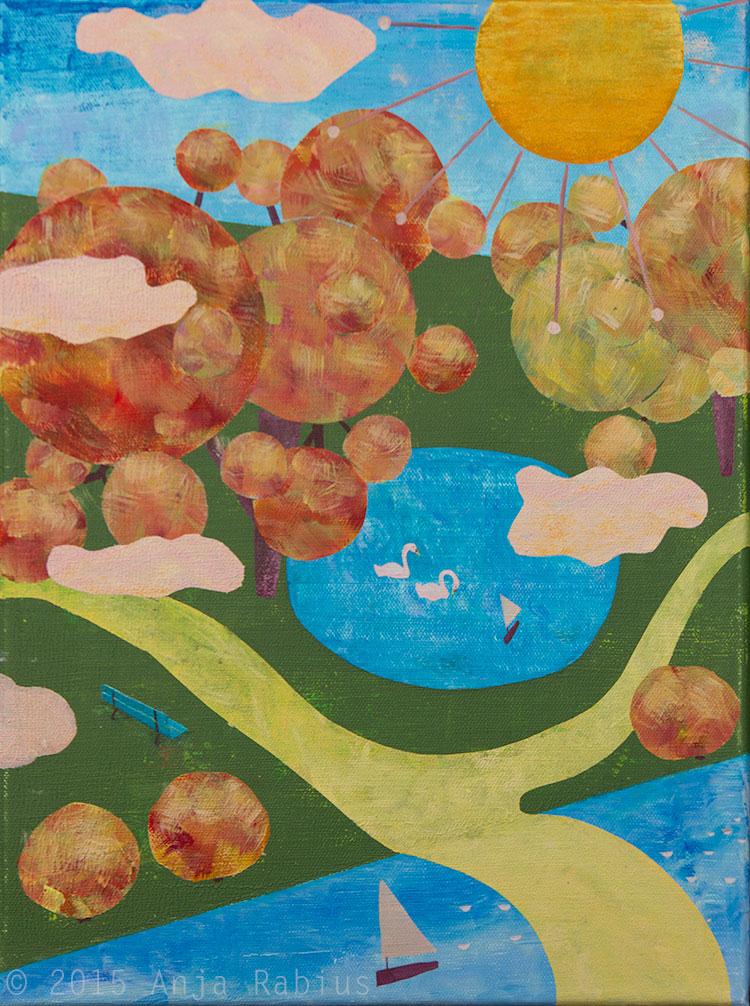 au parc IV, 2015, acrylic on canvas, 30 x 40 cm