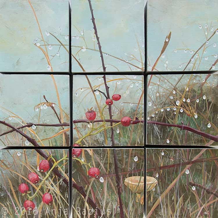 memento naturae II, 2016, acrylic on wood, nine blocks, 30 x 30 cm