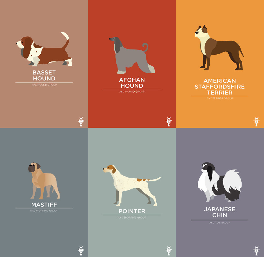 Collection of Dog A Day posters I completed in 2012