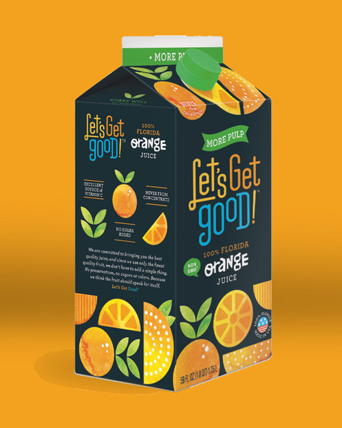 Let's Get Good juice packaging. Created with Jolby & Friends