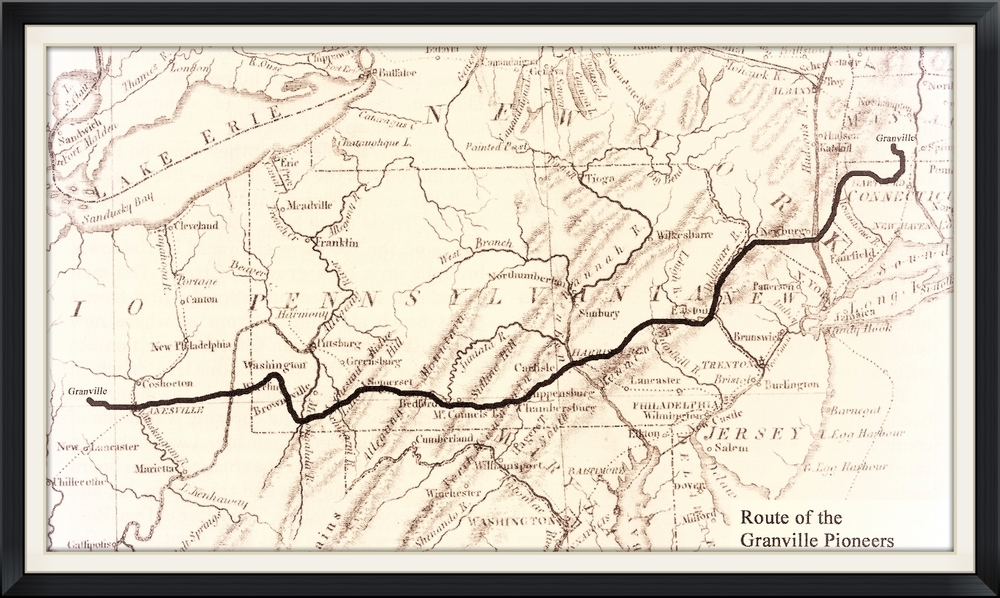 The most common route that the settlers took from Massachusetts to Ohio.