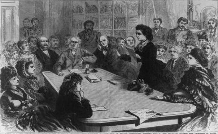 Library of Congress image of Victoria Woodhull addressing a meeting.