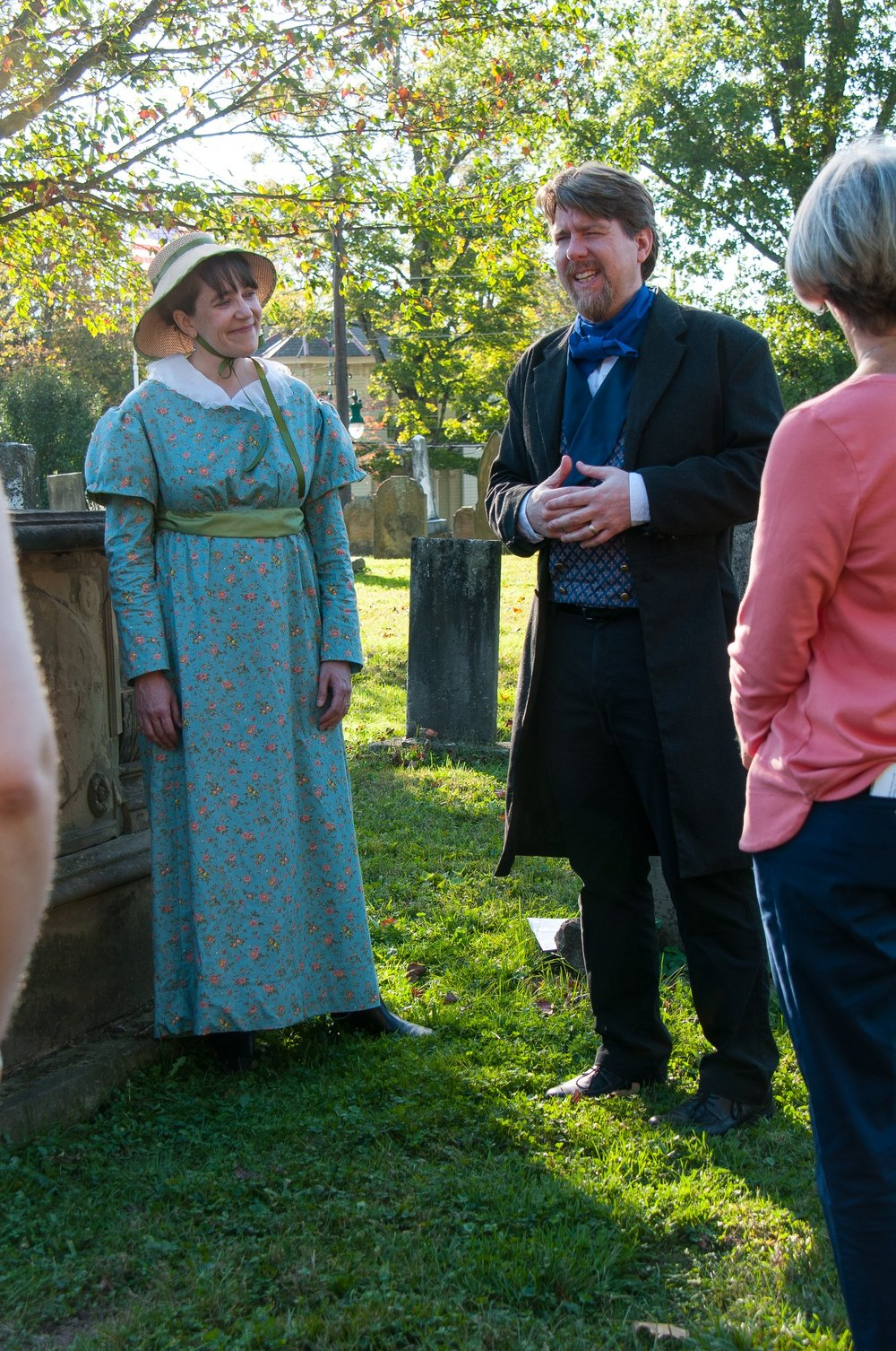 """The """"ghosts"""" of Isabella Richards and Lucius Mower share stories from Granville's past in the 2017 Ghost Walk. Join us this year for all new ghosts!"""