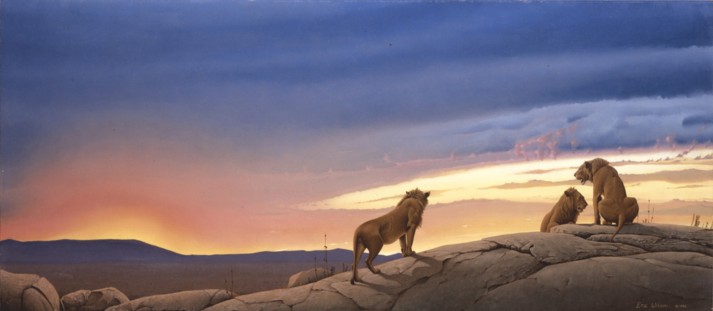 SERENGETI SUNSET Oil on canvas, 42 x 20 inches