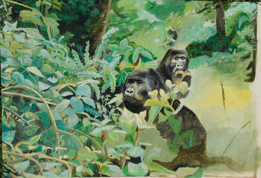 oil painting of a gorilla in the jungle