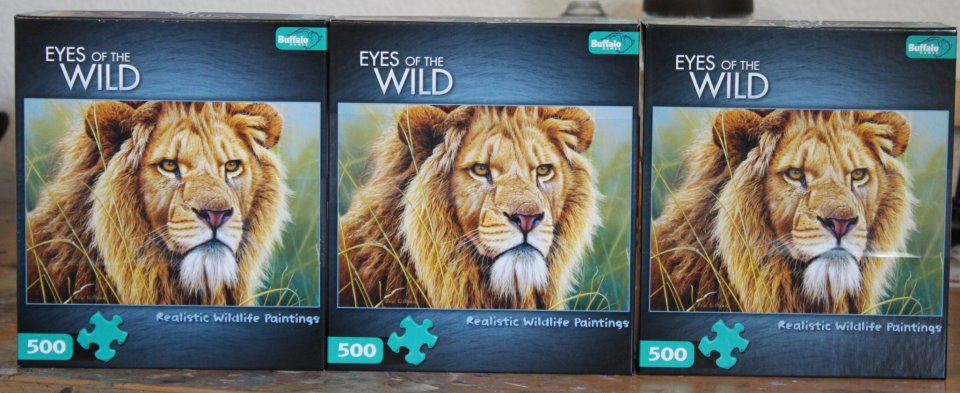 Buffalo Games, New York. Eyes of the Wild. Jigsaw Puzzle with the wildlife art of Eric Wilson. - King of Beasts - Lion Portrait.