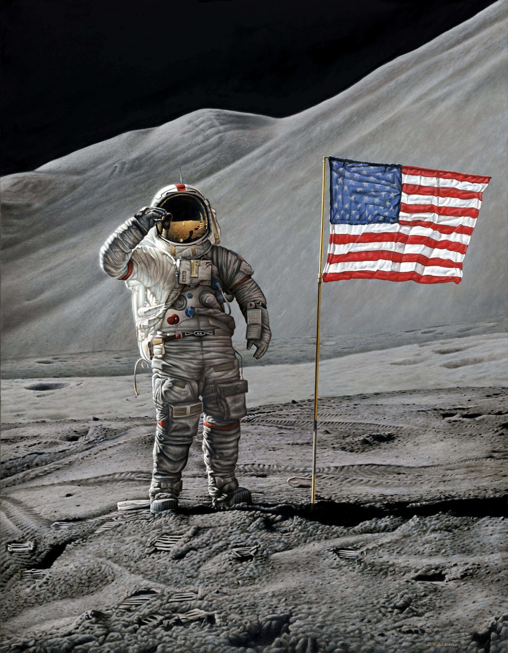 Commander Dave Scott, Apollo 15, salutes the flag at the end of EVA 2 on 1st August 1971.