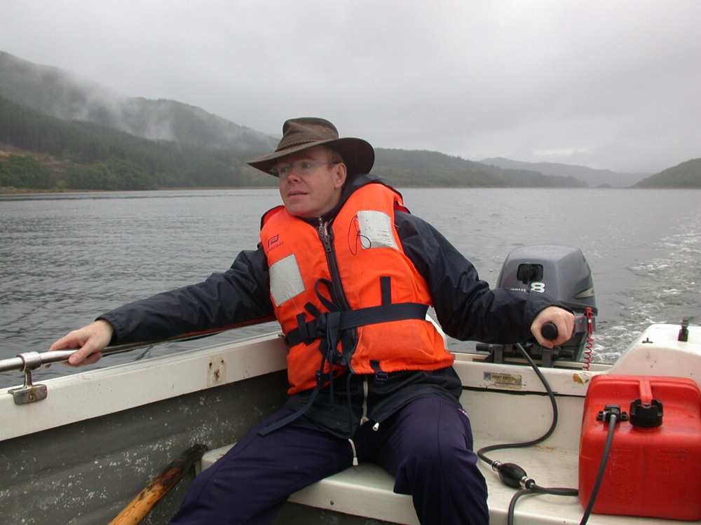 Painter of British Wildlife Eric Wilson on Loch Sunart, Strontian, Scotland.