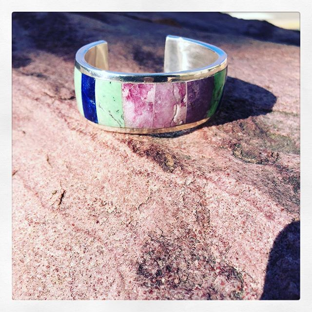 My first stone inlay bracelet! I can't wait to incorporate this technique into my work! Thank you @khstudiotaos for teaching this fabulous workshop, and thank you @hillarywestjewelry for inspiring me! . . . #ANNALAYA #stoneinlay #denverstyle #fallfashion #creativelifehappylife #creativelife #createeveryday #minimalist #thenativecreative #create #seekthesimplicity #minimal #nothingisordinary #madeinusa #madeindenver #creativityfound #minimalstyle #thecreativenow #pursuepretty #flashesofdelight #thehappynow #designprocess  #oneofthebunch #designer #creativeminds #jewelrydesigner #inlayjewelry #inlaybracelet #sterlingsilverjewelry