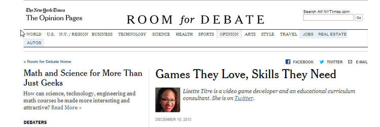 Games They Love, Skills They Need - New York Times - Room For Debate ...