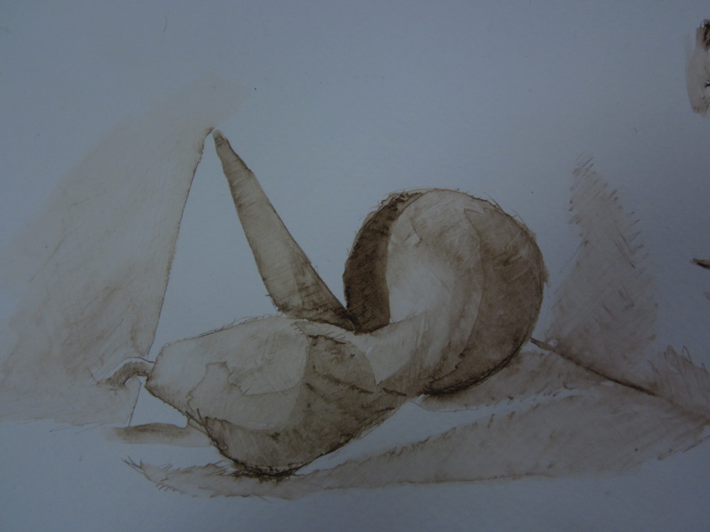Still life with gourd and pyramid