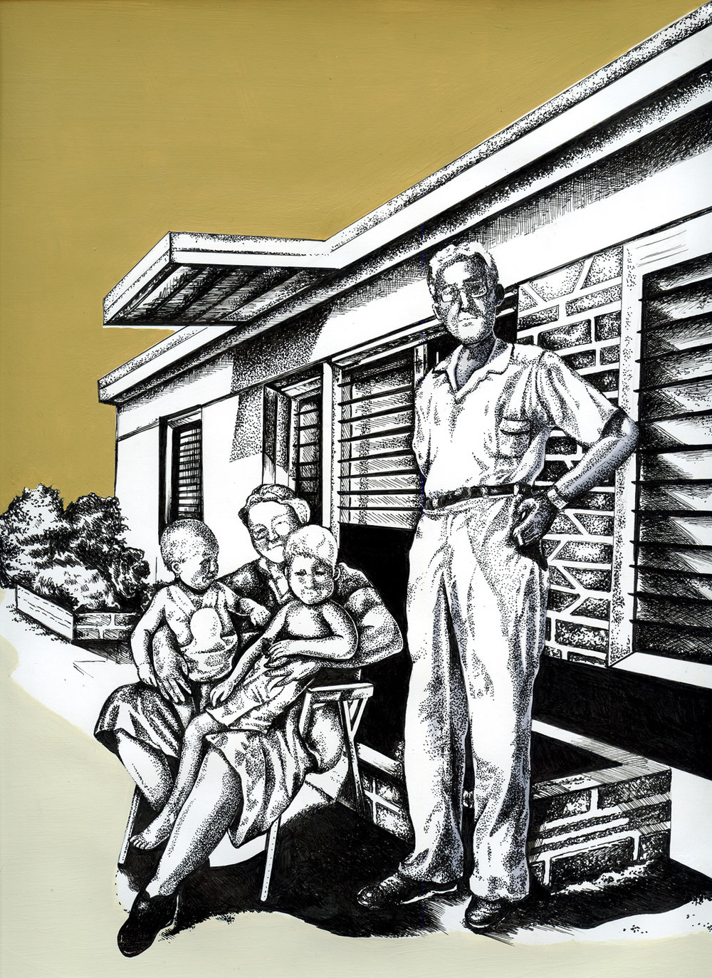 """FLORIDA MID-CENTURY HOUSE   LATEX HOUSE PAINT, PEN AND INK ON PAPER  14"""" X 11"""""""